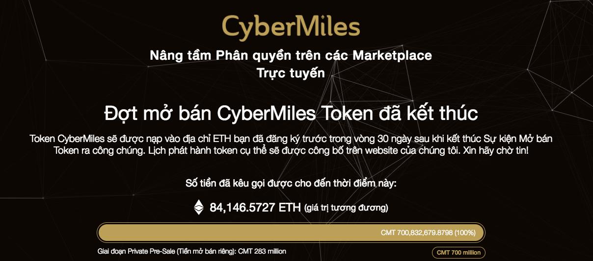 700 triệu Token CMT của Cybermiles bán hết chỉ sau 45 phút mở cửa
