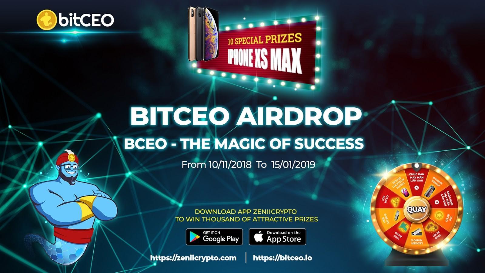BitCEO Airdrop khủng 50 triệu token BCEO kèm giải đặc biệt 10 iPhone XS